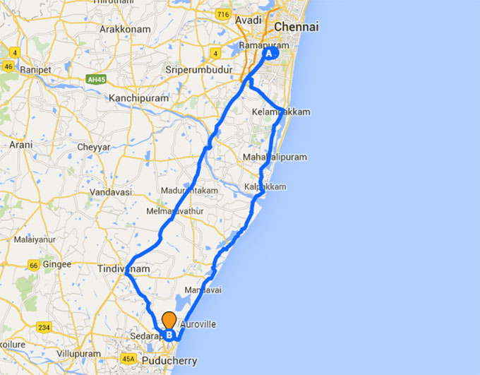 The road from Chennai to Auroville